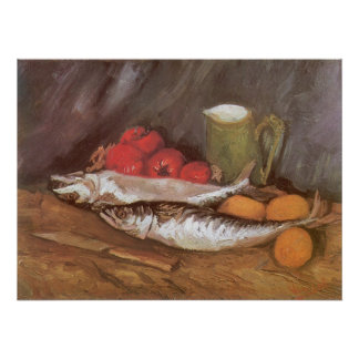 Mackerels, Lemons and Tomatoes by Vincent van Gogh Poster