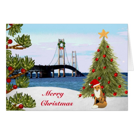 Mackinac Bridge Christmas Card with Fox