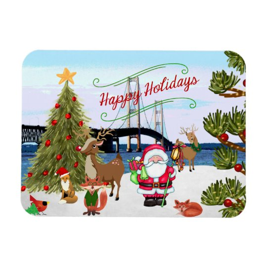 Mackinac Bridge Christmas Magnet