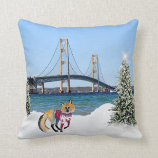 Mackinac Bridge Christmas Pillow