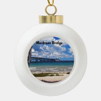 Mackinac Bridge Michigan Ceramic Ball Christmas Ornament