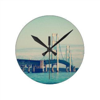 Mackinac Bridge Round Clock