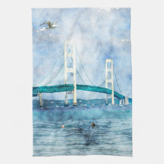 Mackinac Bridge Scenic Watercolor Art Tea Towel