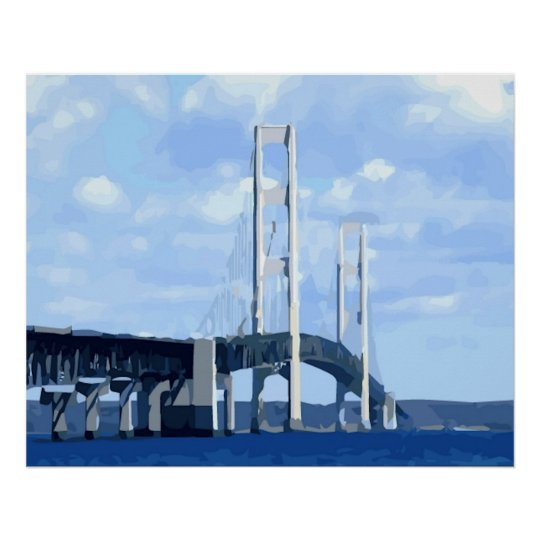 Mackinac Bridge Vector Poster
