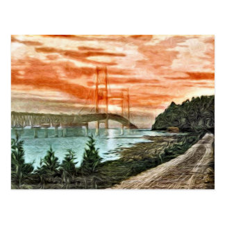 Mackinac Bridge Vintage Postcard