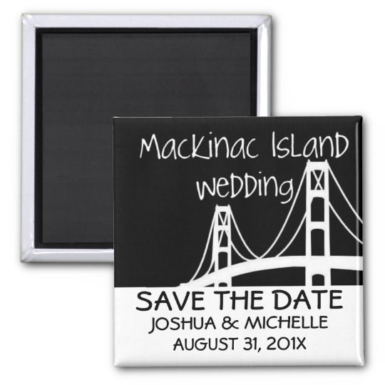 Mackinac Island Wedding Save The Date Square Magnet