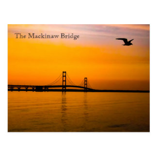Mackinaw Bridge at Sunset Postcard