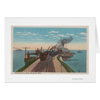 Mackinaw City, MI - View of Railway Ferry Docks Card