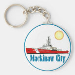 Mackinaw City Michigan Basic Round Button Key Ring