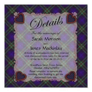Mackinlay Scottish clan tartan - Plaid 5.25x5.25 Square Paper Invitation Card
