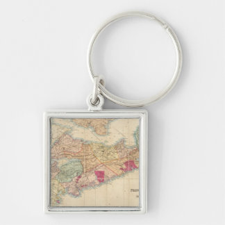Mackinlay's map of the Province of Nova Scotia 3 Silver-Colored Square Key Ring