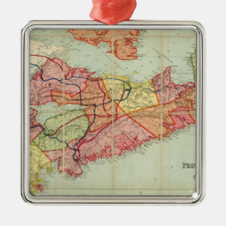 Mackinlay's map of the Province of Nova Scotia 4 Silver-Colored Square Decoration