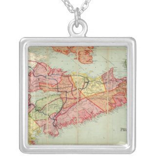 Mackinlay's map of the Province of Nova Scotia 4 Silver Plated Necklace
