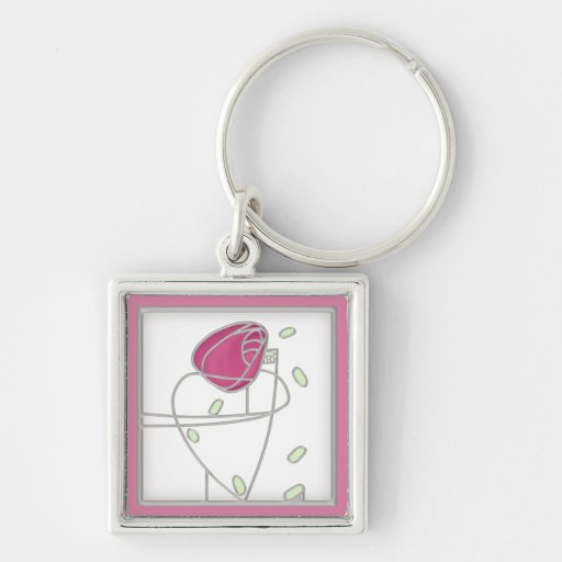 Mackintosh Rose Art Nouveau Flowers in Pink Keychains