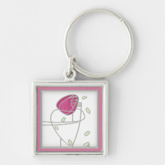 Mackintosh Rose Art Nouveau Flowers in Pink Silver-Colored Square Key Ring