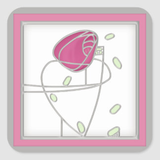 Mackintosh Rose Art Nouveau Flowers in Pink Square Sticker