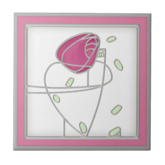 Mackintosh Rose Art Nouveau Flowers in Pink Tile