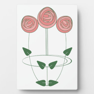 Mackintosh Style Roses Design in Pink and Green Plaque