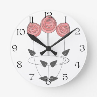 Mackintosh Style Roses in Pinks and Greys Wall Clock