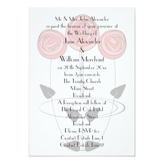 Mackintosh Style Roses Wedding Invitations