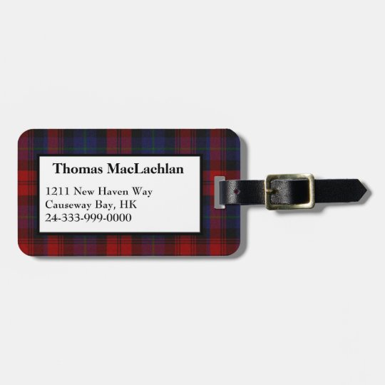 MacLachlan Clan Tartan Plaid Luggage Tag