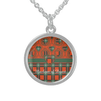 Maclaine of Lochbuie clan Plaid Scottish tartan Sterling Silver Necklace
