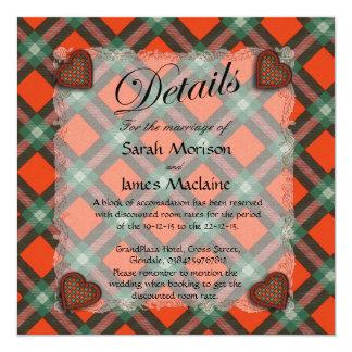 Maclaine of Lochbuie Scottish clan tartan - Plaid 5.25x5.25 Square Paper Invitation Card