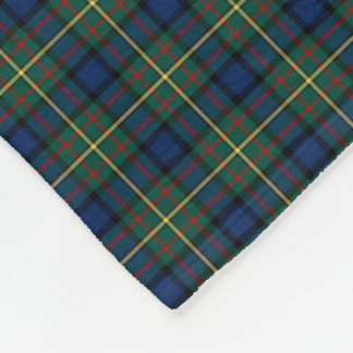MacLaren Clan Dark Blue, Green and Yellow Tartan Fleece Blanket