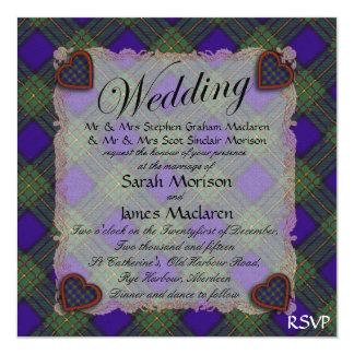 Maclaren Scottish clan tartan - Plaid 13 Cm X 13 Cm Square Invitation Card