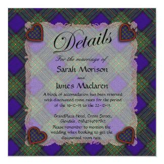 Maclaren Scottish clan tartan - Plaid 5.25x5.25 Square Paper Invitation Card
