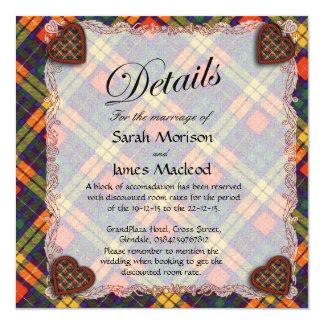 MacLea clan Plaid Scottish kilt tartan 13 Cm X 13 Cm Square Invitation Card