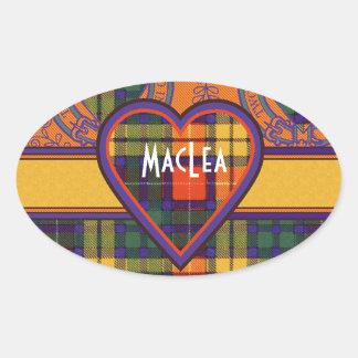 MacLea clan Plaid Scottish kilt tartan Oval Sticker