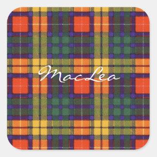 MacLea clan Plaid Scottish kilt tartan Square Sticker