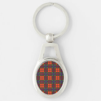 Maclean of Duart Plaid Scottish tartan Silver-Colored Oval Key Ring