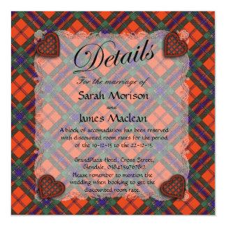 Maclean of Duart Scottish clan tartan - Plaid 13 Cm X 13 Cm Square Invitation Card