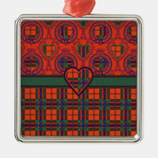 Maclean of Duart Scottish tartan Silver-Colored Square Decoration