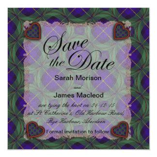 Macleod of Harris Scottish clan tartan - Plaid 13 Cm X 13 Cm Square Invitation Card