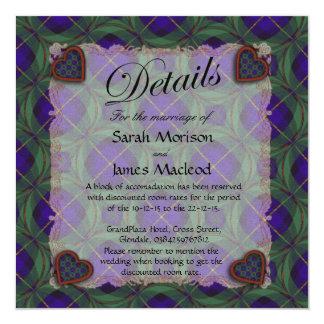 Macleod of Harris Scottish clan tartan - Plaid 5.25x5.25 Square Paper Invitation Card