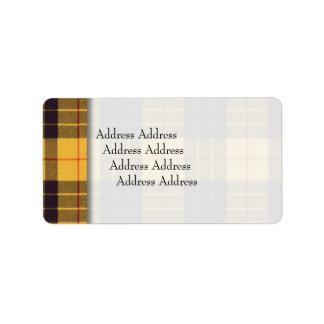 Macleod of Lewis & Ramsay Plaid Scottish tartan Address Label