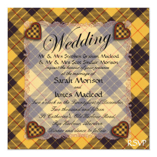 Macleod of Lewis & Ramsay Scottish tartan - Plaid 13 Cm X 13 Cm Square Invitation Card