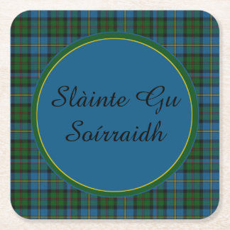 MacLeod Plaid Gaelic Toast Paper Coasters