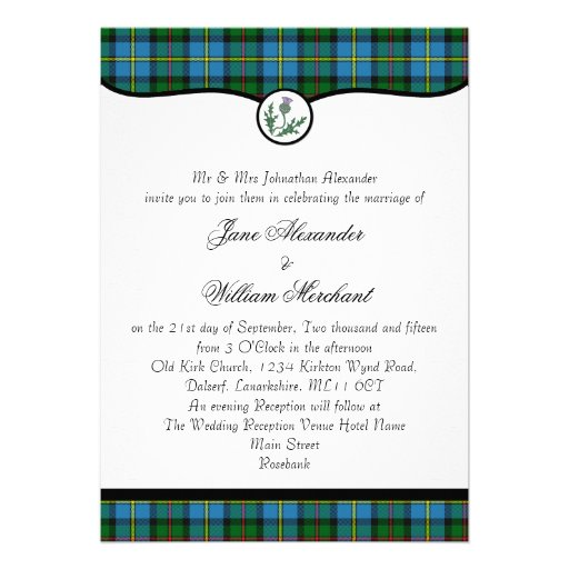 MacLeod Tartan Plaid & Thistle Wedding Invitation