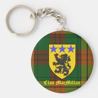 MacMillan Tartan Coat of Arms Basic Round Button Key Ring