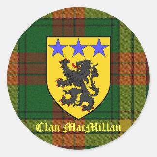 MacMillan Tartan Coat of Arms Round Sticker
