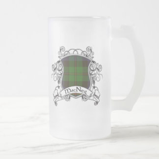 MacNeil Tartan Shield Frosted Glass Beer Mug