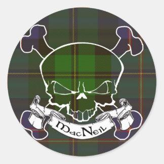 MacNeil Tartan Skull Round Stickers