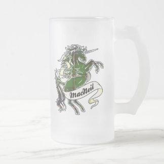 MacNeil Tartan Unicorn Frosted Glass Mug