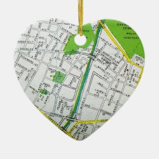 Macon, GA Vintage Map Ceramic Heart Decoration
