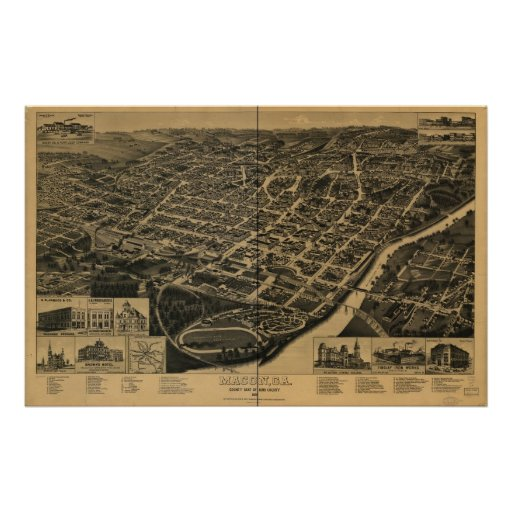 Macon Georgia 1887 Antique Panoramic Map Poster