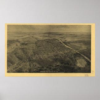 Macon Georgia 1912 Antique Panoramic Map Poster